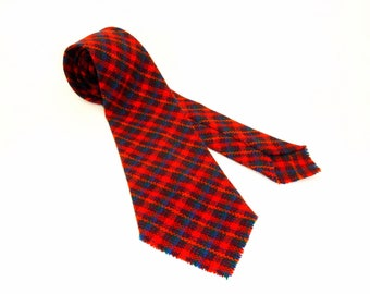 Vintage AMANA Wool Knit Tie Mens Wide Woven Wool Plaid Necktie Made in The Amana Colonies of Iowa