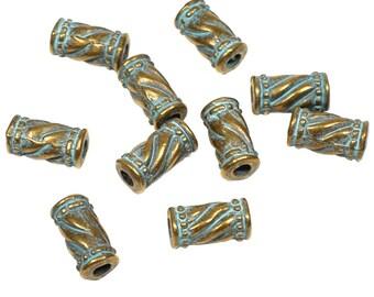 20 tube beads for round leather, antique bronze, verdigris patina