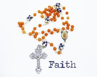 Contemporary Handmade Rosary--Beads--Catholic--Boho--Confirmation--Prayer--African Trade Beads--Quartzite--Vintage--Blue--Orange--Hope--Pray