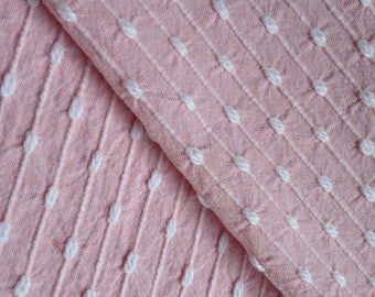 "SALE...Pink  Bates Chenille Pinstripe Vintage Bedspread Fabric Piece...17x 24"""