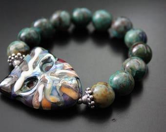 RESERVED for Lynn - Artisan lampwork mask bracelet - chrysocolla gemstone bracelet -  colorful fall bracelet - Bali sterling boho bracelet