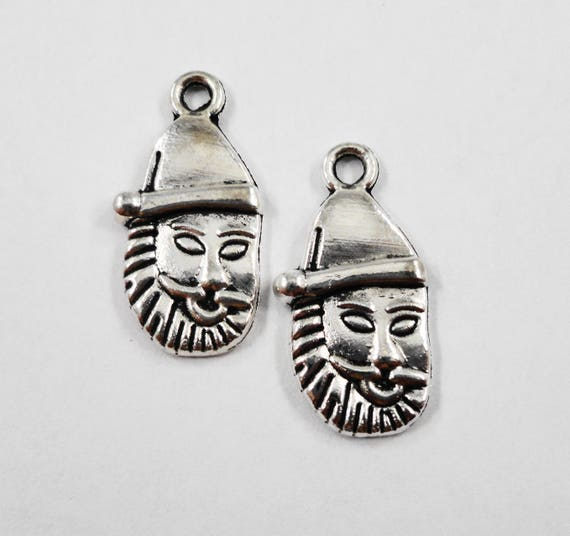 Santa Claus Charms 22x11mm Antique Silver Santa Charms, Santa Claus Pendants, Christmas Charms, Holiday Charms, Silver Metal Charms, 10pcs
