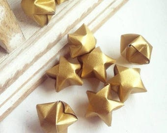 50 metallic gold paper origami stars without quotes- Spring - wedding decor - wedding favour - custom