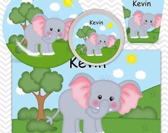 Elephant Plate, Bowl, Cup, Placemat - Personalized Zoo Dinnerware for Kids - Custom Tableware