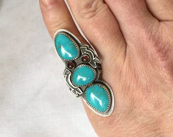 Kingman Turquoise Garnet Ring Sterling Silver Double Arrow Ring Size 6 Ready to Ship by ShesSoWitte