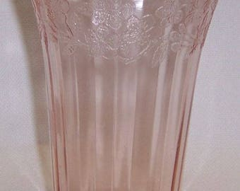 Jeannette Depression Glass Pink CHERRY BLOSSOM 5 Inch 12 Ounce Ice Tea TUMBLER