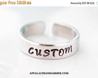 WEEKEND SALE Custom Hand Stamped Aluminum Adjustable Ring