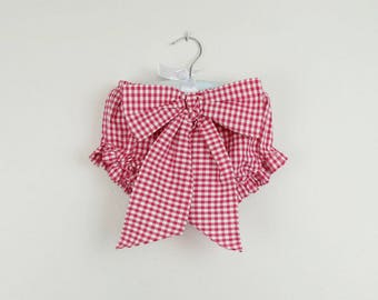 Baby Bloomers - Hot pink gingham bloomers, bow on the front -  Available in more colors