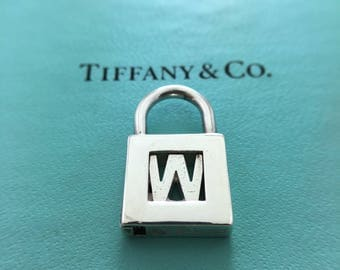 """Authentic Tiffany & Co Sterling Silver Letter """"W"""" Lock Charm Pendant - Initial W Padlock - Alphabet Letter # 4308"""