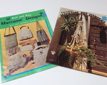 Vintage Macrame Pattern Booklets, Macrame Pot Hangers, Macrame Designs for Belts and Purses, 1970s