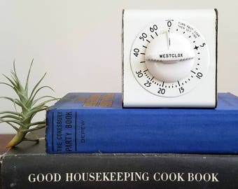 Vintage Westclox Lookout White And Black Kitchen Timer / Vintage Kitchen /  Farmhouse Style / Farmhouse