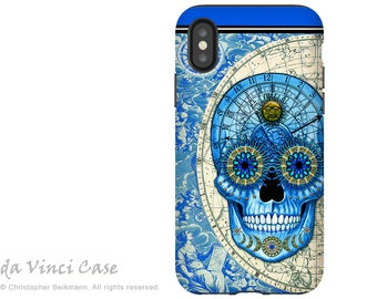 Astrological Sugar Skull iPhone X Tough Case - Steampunk Astrology Skull Dual Layer Case for Apple iPhone 10 - Astrologiskull