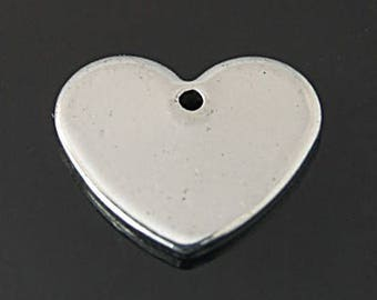 Silver Heart Charms Silver Charms Stainless Steel Charms Engraving Charms Stamping Blanks Heart Pendants 25 pieces