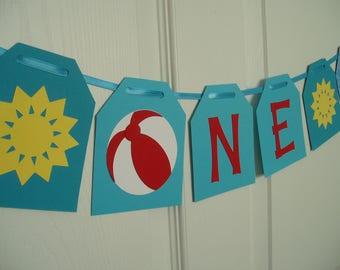 One Banner, Summer Beach Ball Banner, Summer Cardstock Garland, Summer First Birthday, Pool Party First Birthday Banner, Red, Yellow, Blue