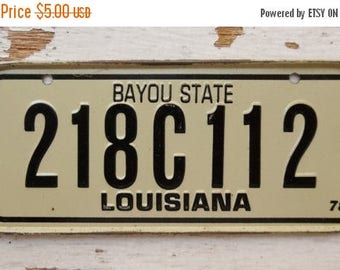 ON SALE Vintage, Louisiana, 1978, Bike Plate, Bayou State, Bicycle, License Plate, Cereal Premium, Miniature, Tin, Embossed, Collectibles
