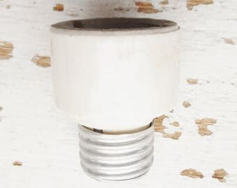 "ON SALE Vintage Glazed Porcelain Socket Extension, Medium (E26) to Medium (E26) , 1 1/4"" overall extension, Made in Usa"