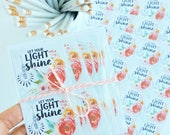 Let Your Light Shine watercolor floral stickers packaging supplies