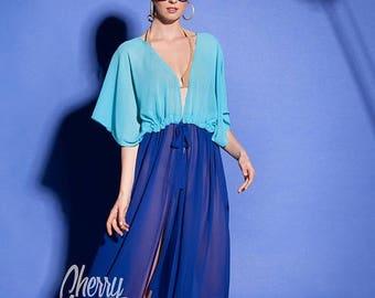 SALE ON 20 % OFF Blue dress, Cover up, Chiffon Dress, Beach dress, Plus size dress, Maxi dress, Beach tunic, Blue maxi dress, Caftan, Cover