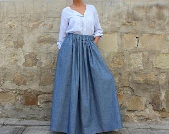 SALE ON 20 % OFF Long Denim Skirt / Jean Skirt / A line skirt/ Cotton Skirt / Full Skirt / High Waisted Skirt / Maxi Skirt / Plus Size Skirt