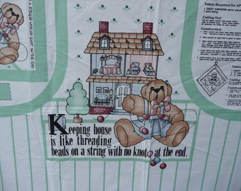 Printed fabric apron panel by Daisy Kingdom. instructions, pot holder