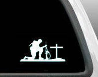 Kneeling Soldier Decal Sticker Car Window Decals