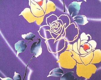 Purple Rose Vintage Japanese wool kimono fabric