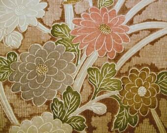 RARE Handpainted Kiku Vintage Japanese silk kimono fabric