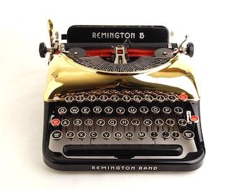 Gold Typewriter, Remington Rand 5 Streamline 1930s