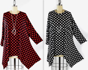 Adorable and Comfortable, Polka Dot Tunic, Lagenlook Tunic, Fishtail bottom tunic, Plus size Tunic,Polka Dot Top. Fits XL/1XL AND 2XL/3XL