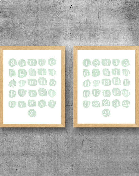 Mint ABC 123 Prints, 11x14 Set of 2 Watercolor Prints for Playroom