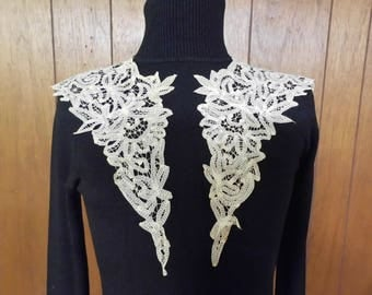 Antique Lace Collar Dress Applique Lace Overlay Lace Insert Romantic Wedding Dress Accessory Intricate Design Drapes Over Shoulder