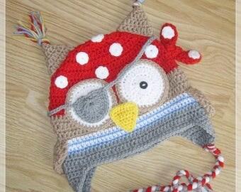 Pirate owl crochet hat, crochet baby hat, animal hat, crochet boy hat