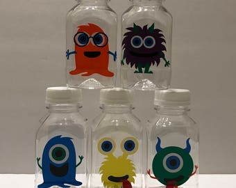 Special Listing for***Star***40- Little Monsters 8 oz or 12 oz Vinyl Cup Plastic Milk Bottles with Lids