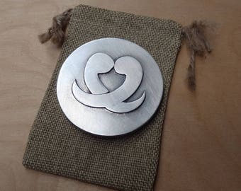 Purse mirror - ying and yang - cast pewter