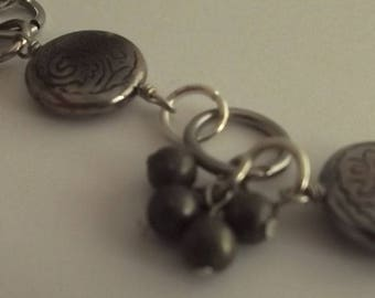 Silver necklace and pendants with pearls of pyrite