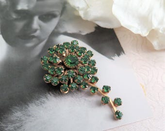 Vintage Green Brooch - Vintage Brooch - Faux Emerald Brooch - Green Rhinestone Brooch - Flower Brooch - Green and Gold - Gift for Her  1950s