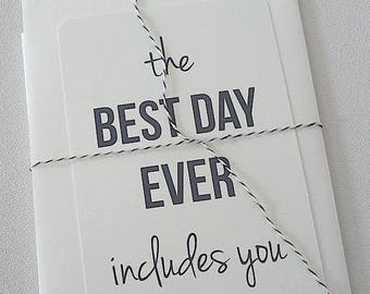 """best day ever notecard - 4"""" x 6"""" - bridesmaid gift will you be my - Ready to Ship"""