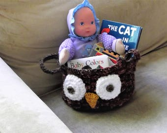Woodsy Brown Owl Storage Home Decor Basket for Magazines, Kids Toys, Bath Items, Spa Basket Baby Shower gift Crocheted Sturdy Useful