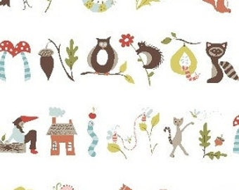 Monaluna Fresh Organic Fabrics Fox Hollow Collection One Yard A is for Apple