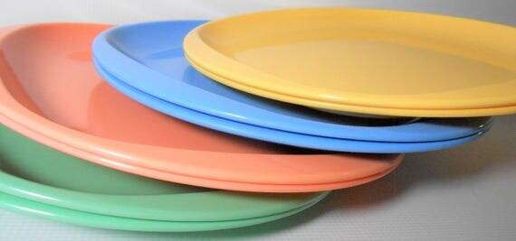 Like this item? & Vintage Plates Melamine Dinner Plates Peach Blue Yellow
