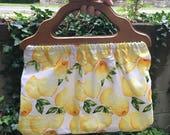 RESERVED Lemon print handbag with vintage wood handles