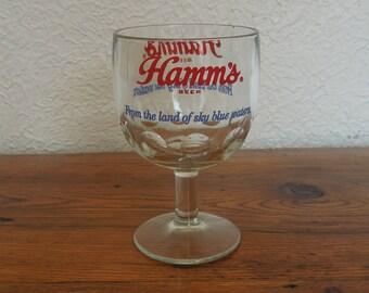 Vintage Hamm's Beer Goblet Thumbprint Pedestal Glass 70's