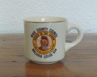 Vintage Boy Scouts Maui Order of the Arrow Malaria Lodge 554 Ceramic Mug BSA