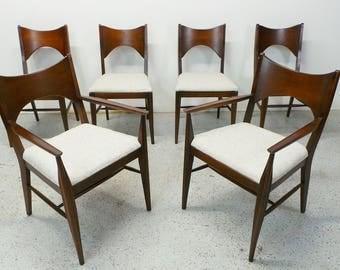 set 6 mid century modern Broyhill Saga walnut & platinum tweed Paul McCobb style dining chairs