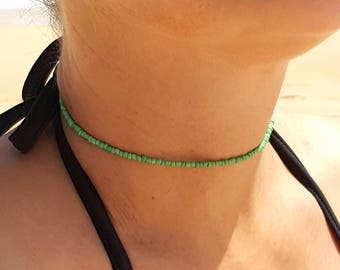 mid green choker seed bead necklace beach agave fondant pastels surf vacation