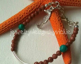 """Gold Sandstone Bracelet, Gemstone, Beaded Bracelet, Turquoise Beads, Silver Tube Bead, Seahorse Charm, Clasp, Extension Chain 6 1/2 - 7"""""""
