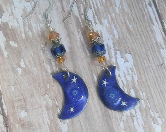 Blue Crescent Moon Earrings Enameled Copper Czech Glass Dangle Drop Beaded Earwires Birthday Gifts for Her Gypsy Soul Jewelry BJGE07