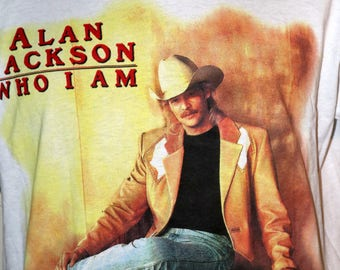 """1994 Alan Jackson """"Who Am I"""" Tour T-Shirt - Size XL - Fruit of the Loom - 50/50 Cotton Polyester"""