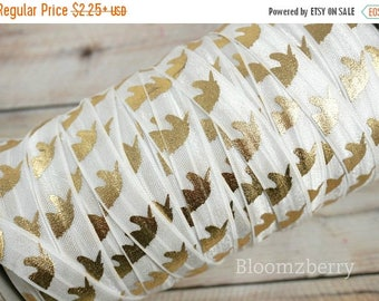 "Summer SALE 10% OFF 5/8"" PRINTED Fold Over Elastic -White w/Gold Unicorn - Printed Elastic - Unicorn Elastic Fold Over -White Elastic -Hair"