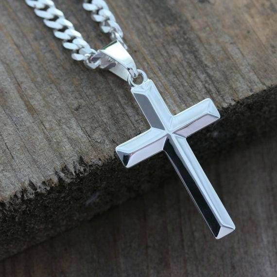 Mens cross necklace sterling silver cross necklace elegant like this item mozeypictures Gallery